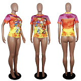 Fashion Cartoon Printing Short Sleeve Round Neck T-Shirts SHD-9232