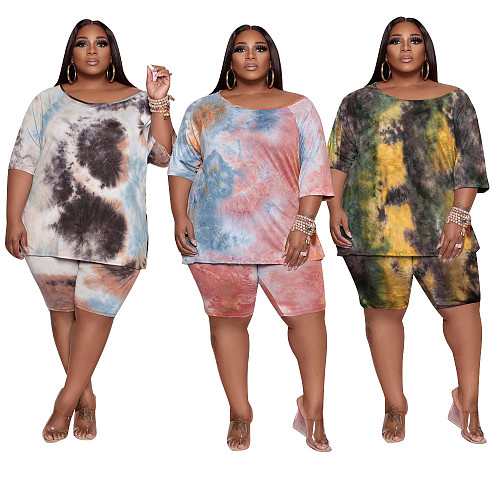 Tie-dye Summer Short Sleeve T-shirt Shorts Women 2 Piece Set BER-8065