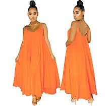 Summer Womens Solid Color Low Neck Long Loose Halter Dresses LS-0346