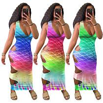 Gradient Color V-neck Sleeveless Hollow Out Bodycon Dress TEN-213