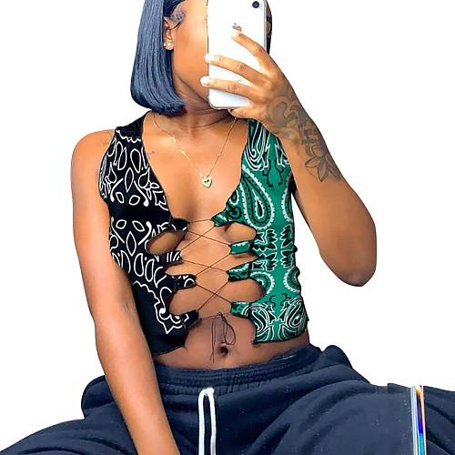 2021 Sexy Women's Hip-hop Cashew Flower Bandage Vest Top DD-8092