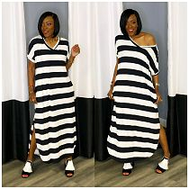 2021 New Women's Simple Striped Short Sleeved V-neck Dress WM-2328