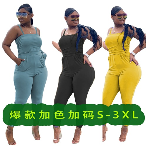 Solid Color Sleeveless High Waist Halter Bodycon Jumpsuits BLN-2020