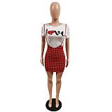 Letter Print Short Sleeve T-shirt Halter Plaid Skirt Two Piece Set MUL-168