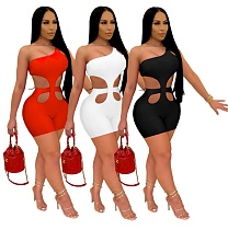 Women Fashion Solid Color Hollow Out Bodycon Sleeveless Romper YUM-9067