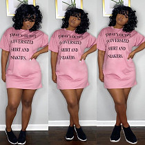 Plus Size Women Letter Print Short Sleeve O-neck Loose Midi Dress TB-5263