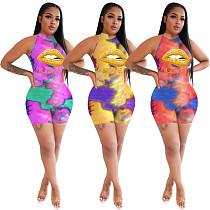 Women Sport Tie Dye Lips Print Sleeveless Bodycon Jumpsuit OYF-8256