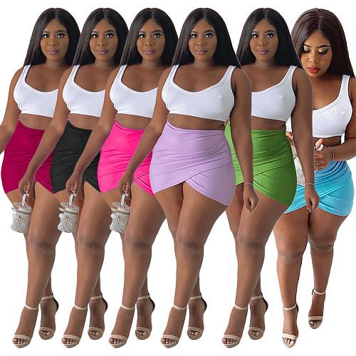 Summer Women High Waist Irregular Solid Color Mini Skirt JUI-9213