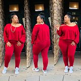 Women Solid Color Long Sleeve Round Neck Top Leggings 2 Pieces OMF-125