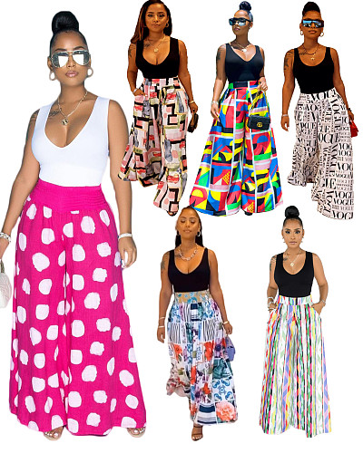 Women Long Casual High Waist Loose-Fitting Print Wide Leg Pants SD-3109