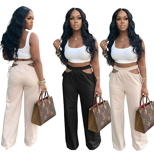 Women Summer Loose High Waist Solid Color Long Straight Pants SH-390103