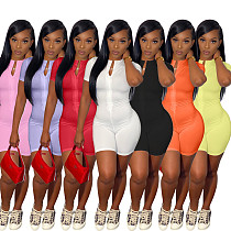 Solid Color Short Sleeve Front Zipper Bodycon Fitness Romper RM-6324