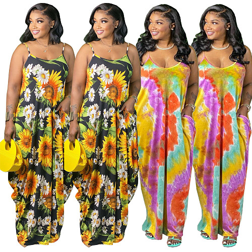 Women Tie Dye Print Summer Vacation Loose Floor Length Dresses HEJ-803