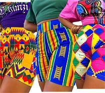 Women Bodycon Floral Print Elastic Waist Knee Length Sports Shorts BLN-2292
