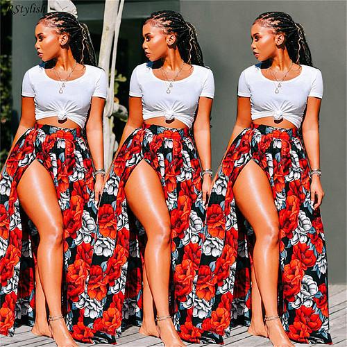 2021 Summer Women's Floral Digital Printing Elastic Waist Skirt LIN-8858