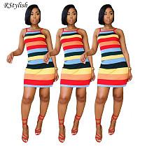 Fashion Women Stripe Print Sleeveless Halter Bodycon Midi Dress MF-319