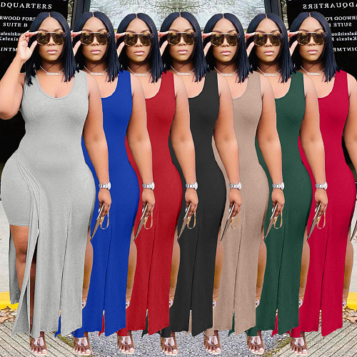 Solid Sleeveless Irregular Top Bodycon Shorts 2 Piece Set WA-7165