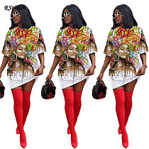 Short Sleeve O-neck Graphic High Street Oversized T-shirt Dress AWY-732