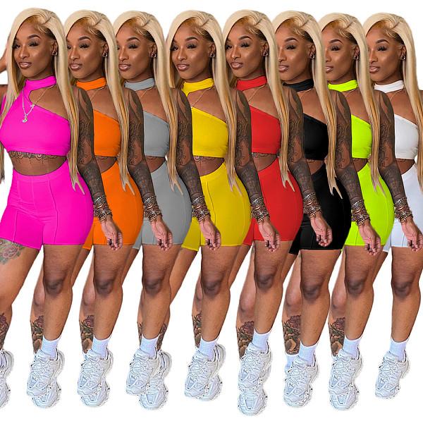 Solid Color Sleeveless Crop Top Bodycon Shorts 2 Piece Set YUM-9066