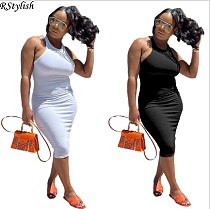 Women Solid Color O Neck Sleeveless Bodycon Midi Club Dress YUM-9073