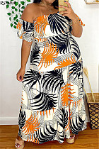 Sexy Off Shoulder Short Sleeve Print Loose Long Maxi Sundress TB-5279