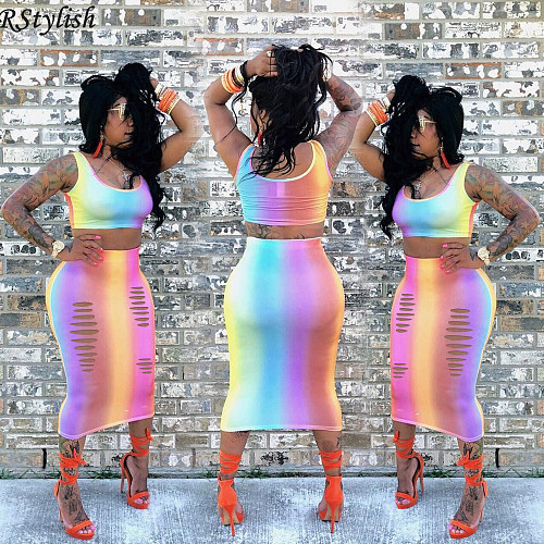 Rainbow Gradient Print Sexy Crop Top Midi Skirt Two Piece Set ASL-6026