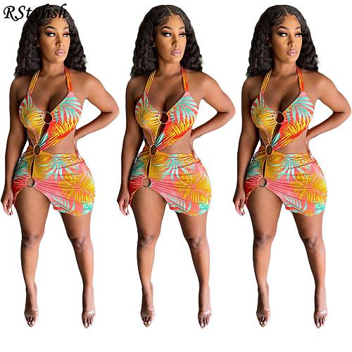 Summer 2021 Bandage Halter Print Clubwear Bodycon Dresses YIY-5280