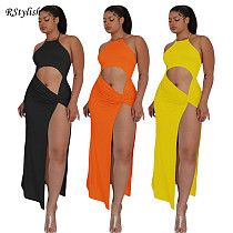 2021 Summer Solid Color Sleeveless Halter High Slit Maxi Dress SY-9081