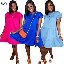 Women Casual Solid Color O Neck Ruffled Short Sleeve Midi Dress JC-7054