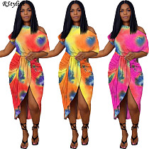 Tie Dye Print Casual Short Sleeve Irregular Bodycon Midi Dress WA-7166-1
