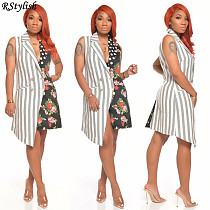 Women's Summer Striped Polka Dot Flowers Splicing Sleeveless Dress ANDI-0404