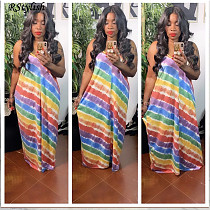 Women Rainbow Striped Print Patchwork Spaghetti Straps Dress ABL-6675