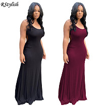Summer Women Solid Color Backless Party Strap Long Dress YUM-9071