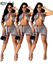 Fashion Plaid Halter Crop Top Shorts Bodycon Two Piece Set YAYG-1075