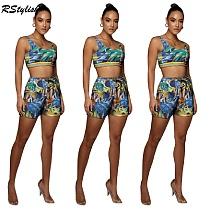 Beachwear Print Elastic Sports Vest Crop Tops Shorts 2Piece Set YISH-069
