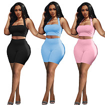 Summer Solid Halter Crop Tops Bikers Shorts Two Piece Outfits QIM-7043