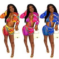 Sexy Women Lace-up Long Sleeve Crop Top Shorts 2 Piece Set ALSA-8055