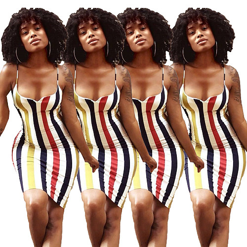 Halter Striped Summer Sleeveless Bodycon Women Midi Dress AIB-6632