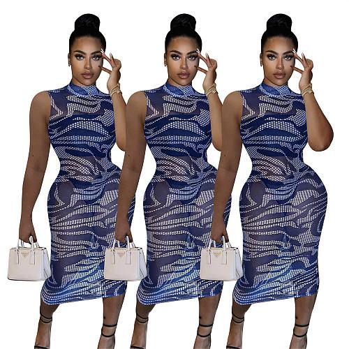 Sexy Blue Print Sheer Mesh Sleeveless Bodycon Club Midi Dresses FE-128