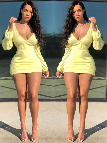 Sexy Solid Color Bodycon Long Sleeve Deep V-Neck Mini Dress QINGS-5038