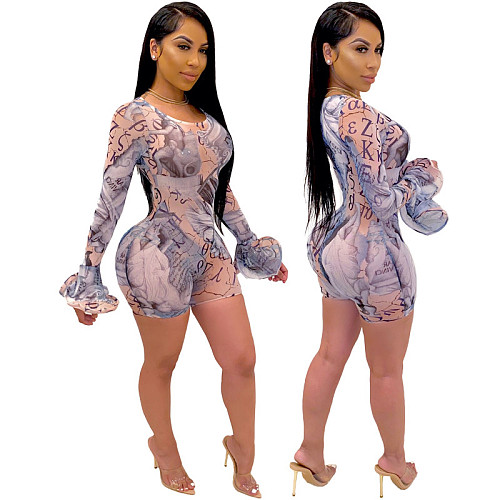 Sexy Print Mesh O Neck Flare Long Sleeve Bodycon Rompers YF-9680