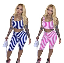 Sexy Sleeveless Stripe Vest Crop Top+Shorts 2 Piece Outfits QS-049