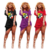 Sexy Pattern Printed Summer Crew Neck Short Sleeve Midi Dress FE-107
