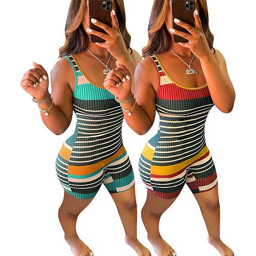 Sexy Multi Color Stripe Print Slim Fit U-neck Sleeveless Rompers SMY-8092