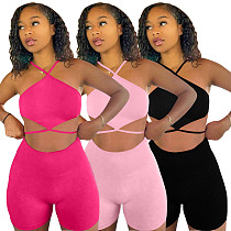 Sexy Solid Bandage Halter Crop Top Biker Shorts Two Piece Outfits QIM-7045