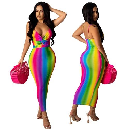 Women Rainbow Color Printed Spaghetti Strap Sexy Bodycon Dress YM-9289