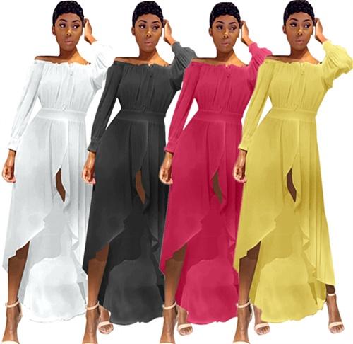 Women Off Shoulder Solid Long Sleeve Ruffle Irregular Long Dress QIY-0345