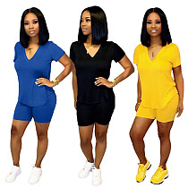 Women Solid Short Sleeve V Neck Tops Shorts Two Piece Outfits WA-7173
