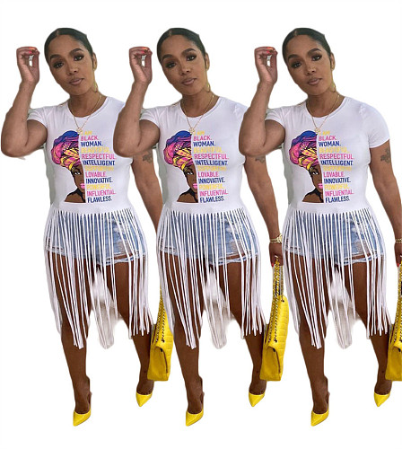 Summer Women's Short-sleeved O-Neck Printed Tassel T-shirt BLN-2302