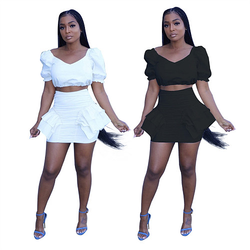 Women Solid Puff Sleeve Crop Top Mini Skirt Bodycon Two Piece Set KXL-813